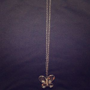 silver and clear butterfly necklace